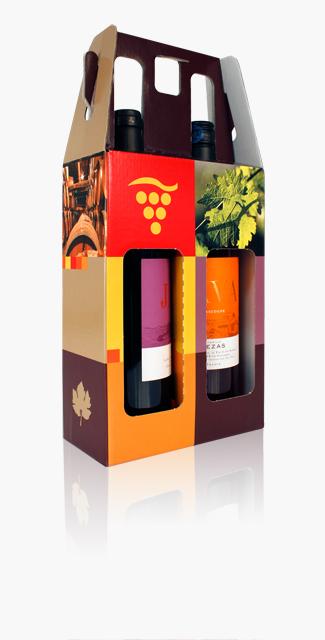 Valisette carton, poignée, impression offset, fenètres bouteille